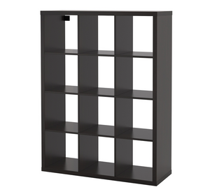 IKEA Kallax 3x4 Shelving Unit, 112x147cm, Black/Brown