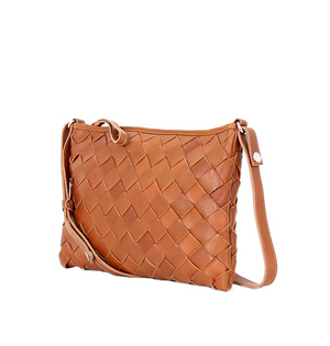 LUMI Trine Woven Leather Bag Large, Cognac