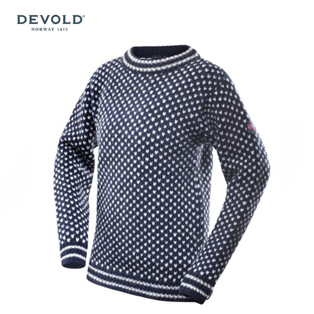 DEVOLD Nordsjo Unisex 100% Pure New Wool Crew Neck, Dark Blue/Grey