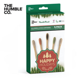 THE HUMBLE CO. Bamboo Toothbrush Adults 5-Pack, Soft, Limited Edition Christmas Collection
