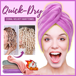 Quick-Dry Coral Velvet Hair Towel