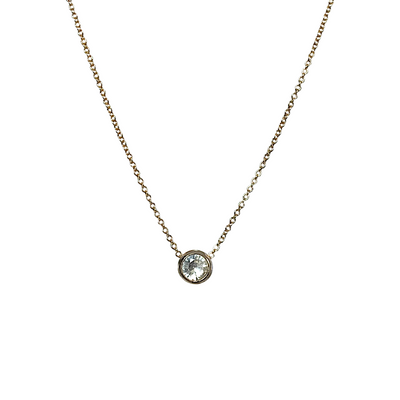 14k white sapphire solitaire necklace