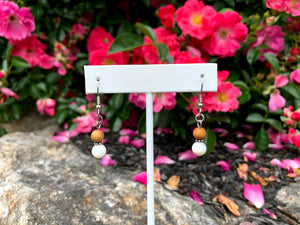 Cedar Wood & Mother of Pearl Dangle Earrings - Meg's Mystics