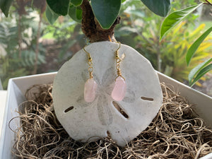 Rose Quartz Dangle Earrings - Meg's Mystics