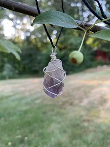 Silver Toned Wire Wrapped Amethyst Pendant - Meg's Mystics