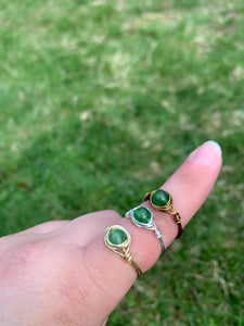 Green Aventurine Wire Ring