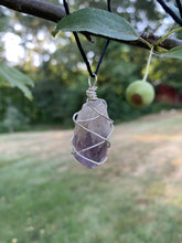 Load image into Gallery viewer, Silver Toned Wire Wrapped Amethyst Pendant - Meg's Mystics