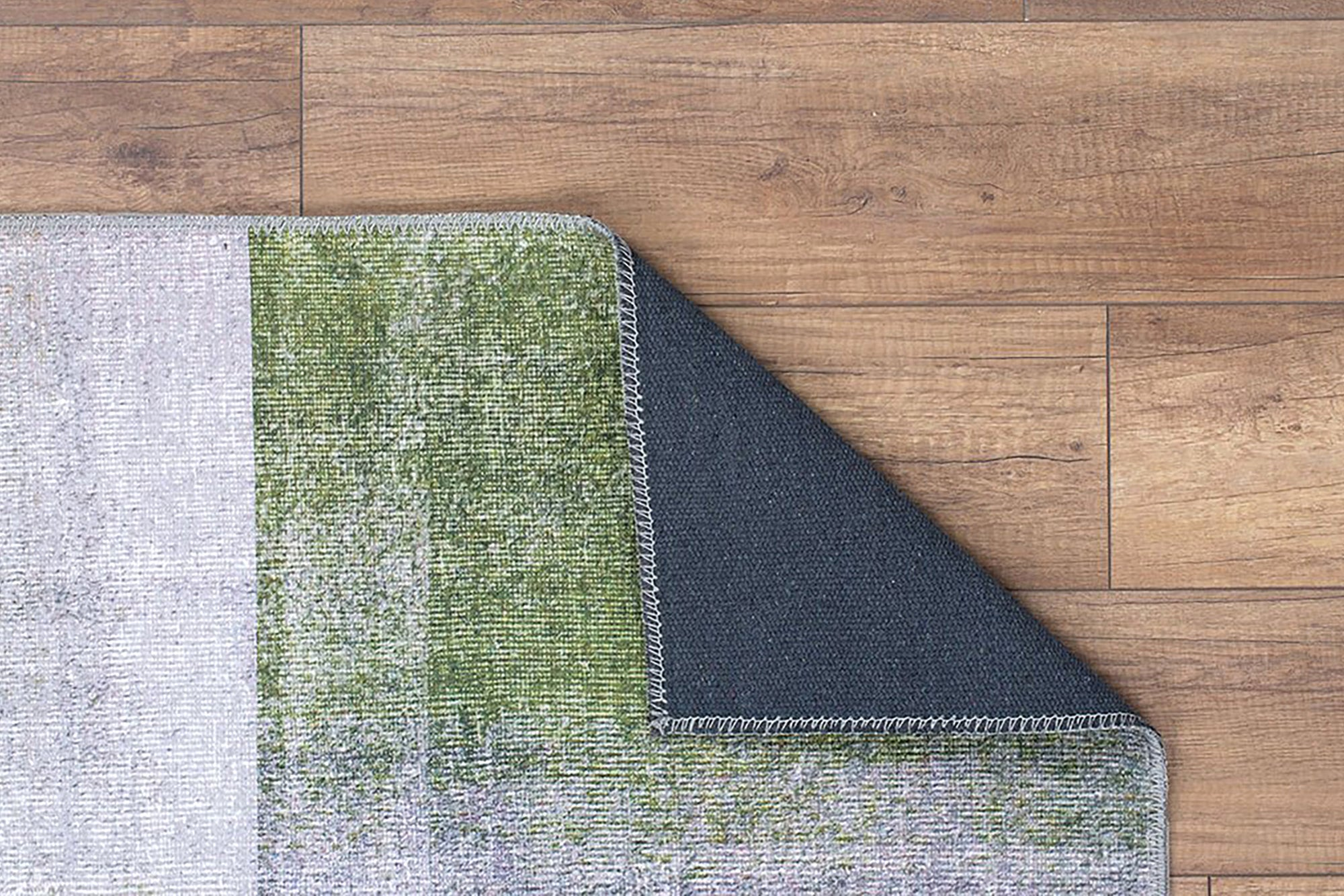 PANA | Contemporary Design, Modern Rug, Vintage looks, Hand-knotted texture, Interior decor, Mid century, Gray, Green, Geometric area rug