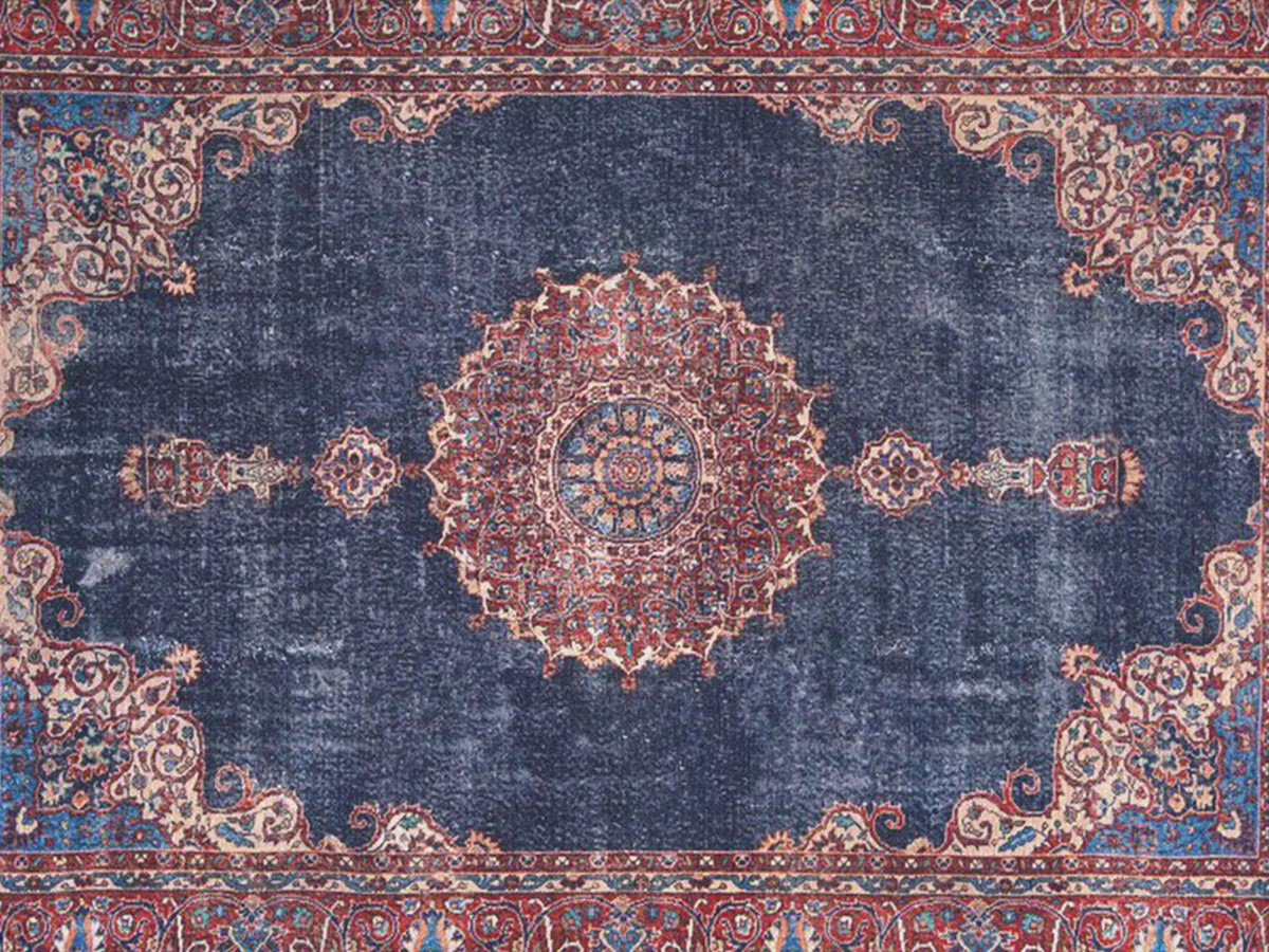 TABRI | Oriental Rug, Persian Pattern, Vintage looks, Bohemian, Living room, Home decor, Area Rug, Mid-century, Navy Blue Rugs, Red, Unique