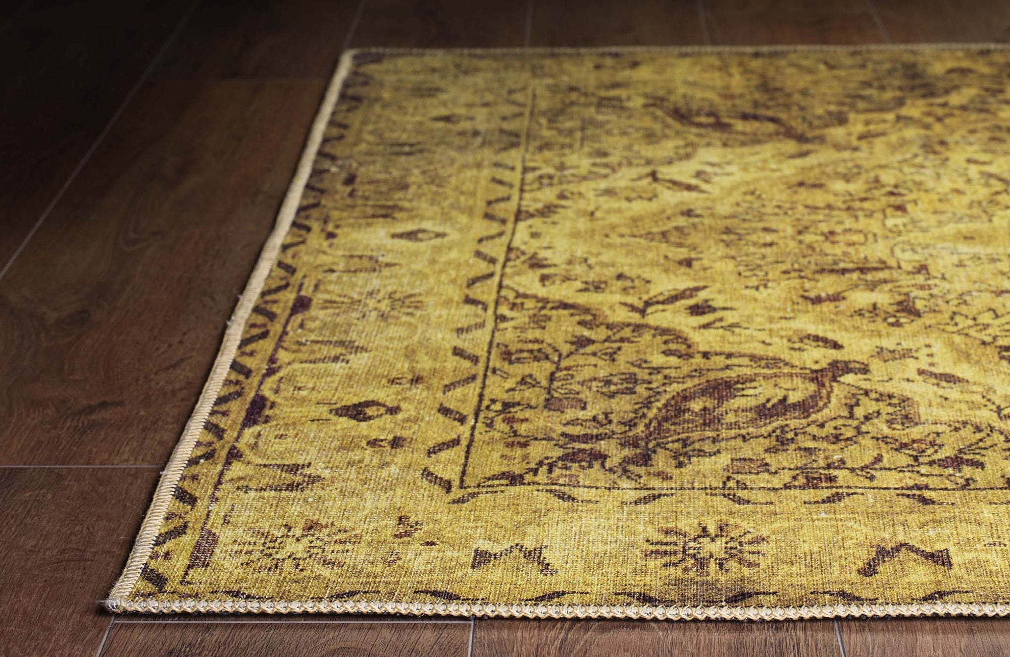 ZOEY | Oriental Design, Persian pattern, Over-dyed Vintage looks, Bohemian, Living room decor, Cotton back, Mid-century, Yellow, Brown, Rugs