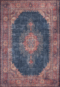 NARGÀN | Persian Pattern Oriental Rug, Antique looks, Hand-knotted texture, Home decor, Traditional, Central Medallion, Navy blue, Red, Rugs