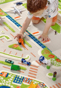 CITY LIFE | Kids Play Rug, Road Rug, Play floor mat, Soft, Car, Ship, Road, Sea, Educational, Fun, Activity, Boys, Girls, Children, Toddler