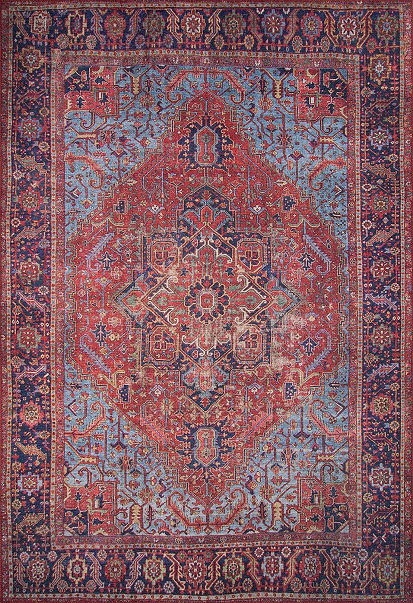 HANDA | Heriz Design, Oriental rug, Persian Pattern, Antique Hand knotted looks, Home decor, Central Medallion, Light & Navy Blue, Red, Rugs