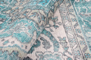 BAYZA | Persian Rug Pattern, Teal, White, Luxurious, Vintage looks, Oriental, Home decor, Hand-knotted texture, Distressed, Beach home decor