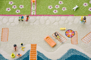 BEACH HOME | Kids Play Rug, Playhouse, Play floor mat, Soft, 3D House rug, Car, Road, Nursery, Fun, Activity, Boys, Girls, Children, Toddler