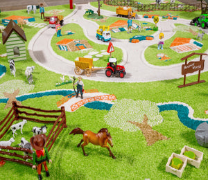 FARM | Kids Play Rug, Play floor mat, Green, Soft, Farmhouse, 3D Carpet, Horse, Cow, Nursery, Fun, Activity, Boys, Girls, Children, Toddler