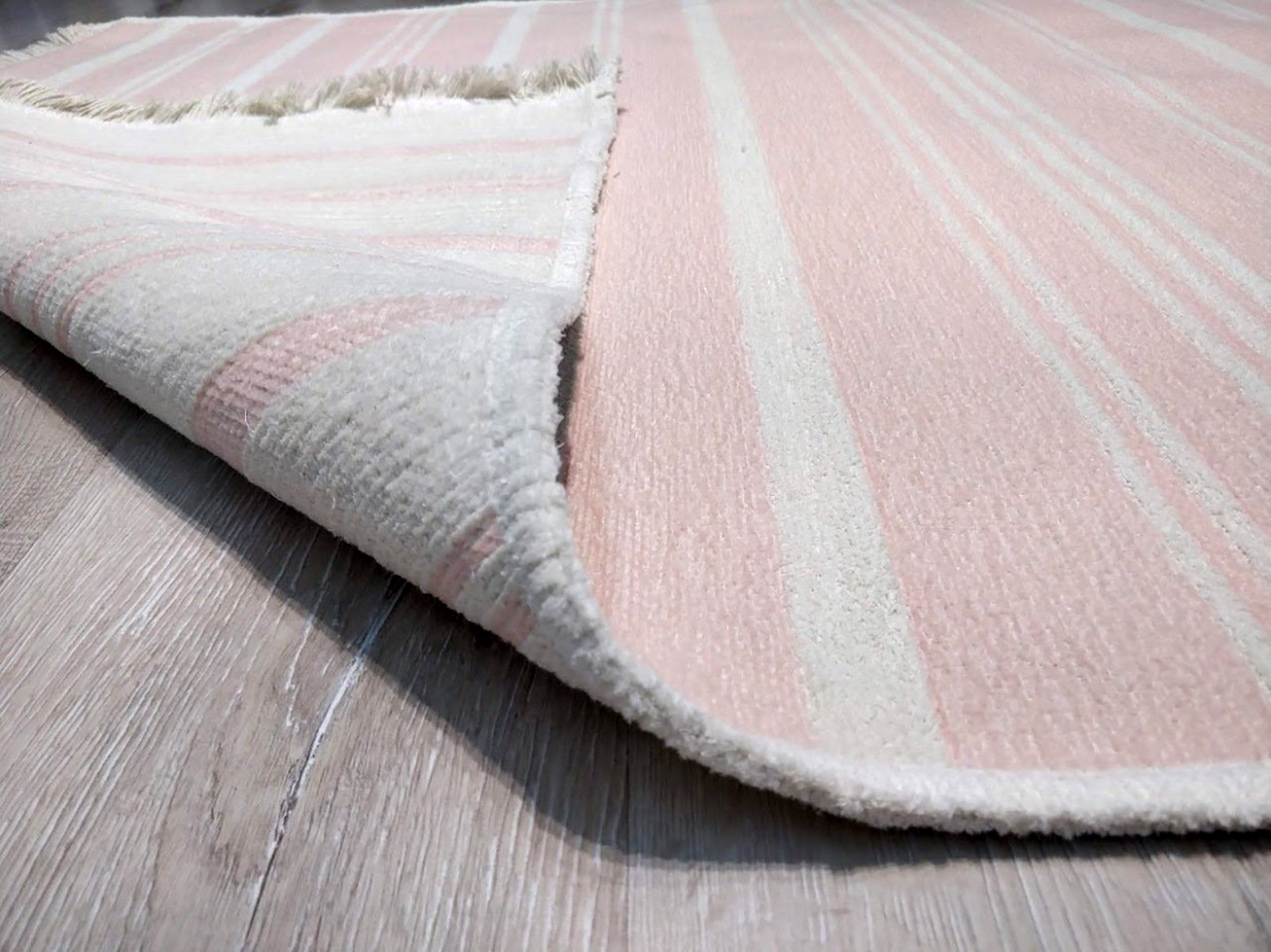 PAMA | Revesible Kilim Rug, Washable Flatweave Soft, Pastel Pink Modern Turkish Rug, Neutral White Striped rug, Double Sided, Shabby chic