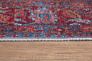 ZARA | Persian Rug Pattern, Teal, Red, Luxurious Floral Oriental Floor decor, Vintage Hand Knotted texture, Farmhouse Distressed Unique Rug