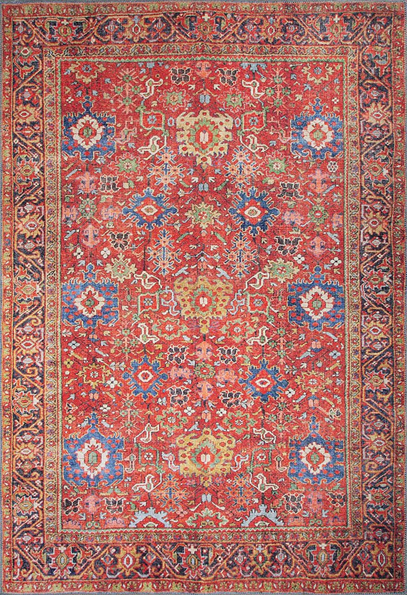 AYA | Turkish Rug, Antique looks Area rug, Unique Colorful Floral Room Decoration, Mid Century Distressed Oriental Red Luxury Carpet Idea