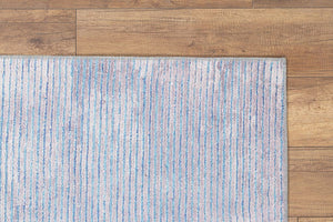 BALA | Blue Striped Modern Neutral rug, Faded Vintage Hand-knotted texture, Minimalist Soft Gray Silver Colors, Area and Runner Rugs, Carpet