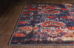 ABRU | Made in Turkey, Persian Pattern, Floral Rug, Vintage Hand knotted looks, Bohemian, Home Decor, Mid-century, Area carpet, Navy Blue