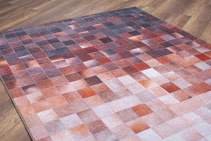 AZIZA | Cowhide Patchwork Design, Squares, Ivory, Beige, Orange, Brown, Area Rug, Modern Geometric Carpet, Unique Home Decor, Teppiche, Rugs