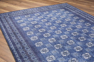 AFDA | Vintage Afghan rug looks Dark Blue, Luxury Housewarming, Home decor, Hand-knotted texture, Distressed Beach Home decoration, White