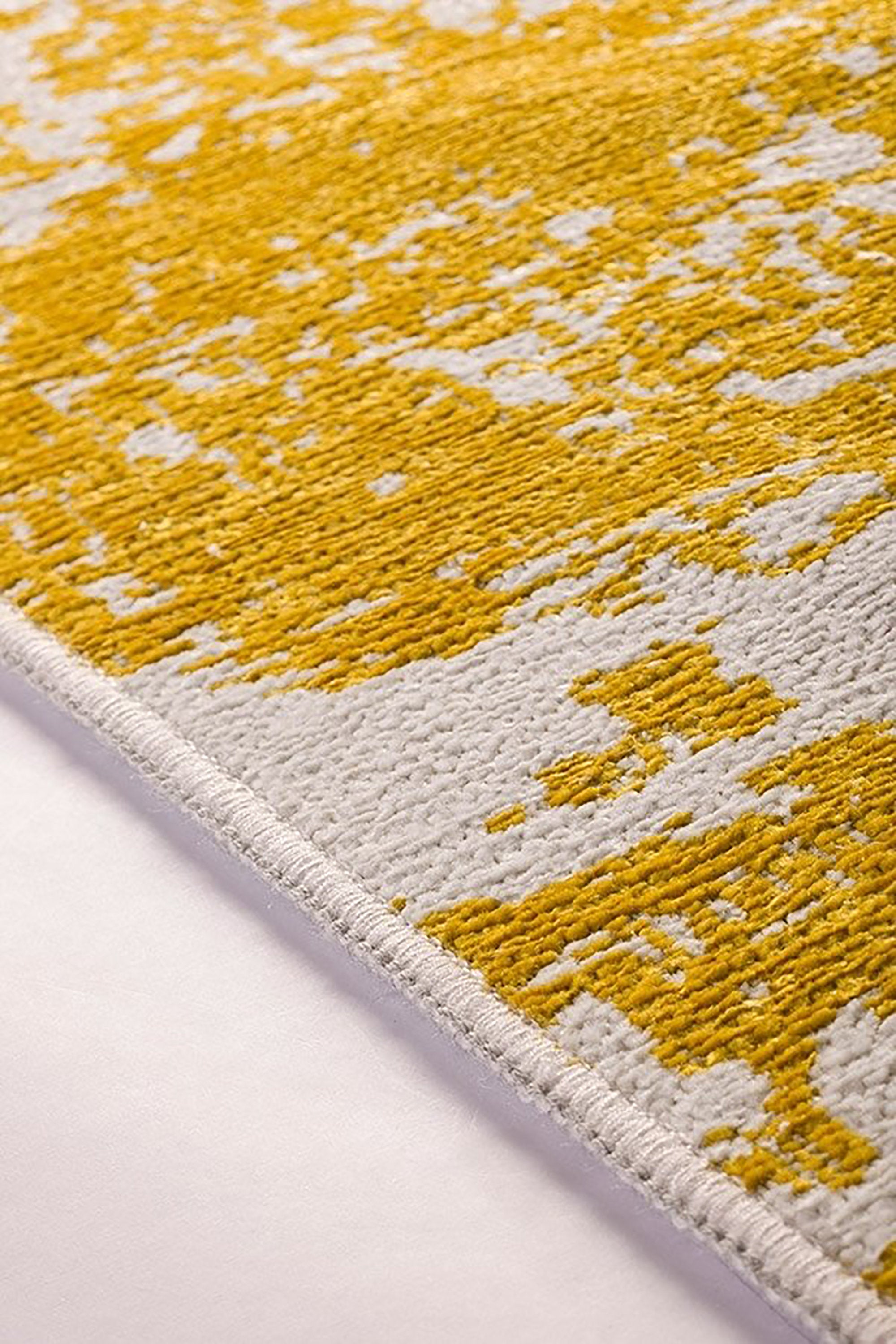 MAKA | Abstract Kilim Runner, Reversible Double Sided Flatweave Modern Runner, Hallway Decor, Gray, Yellow, 2 Side, Luxury look Washable Rug