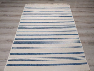 NAMA | Reversible Kilim Rug, Washable Flatweave Soft, Pastel Blue Modern Turkish Rug, Neutral White Striped rug, Double Sided Minimalist Rug