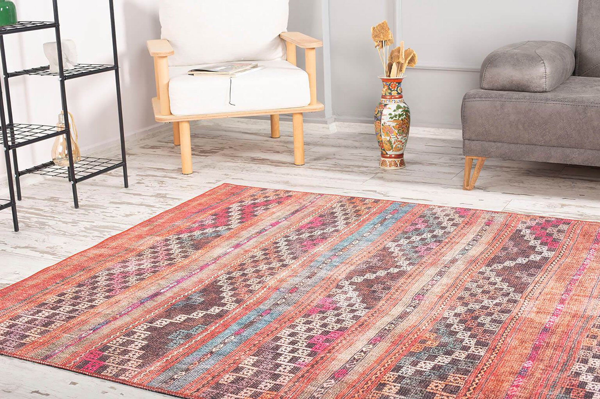 KALA | Kilim style Turkish rug, Red Orange Vintage look Faded Traditional Area rug, Bohemian Striped Mid-century Floor Decor Diamond Carpet