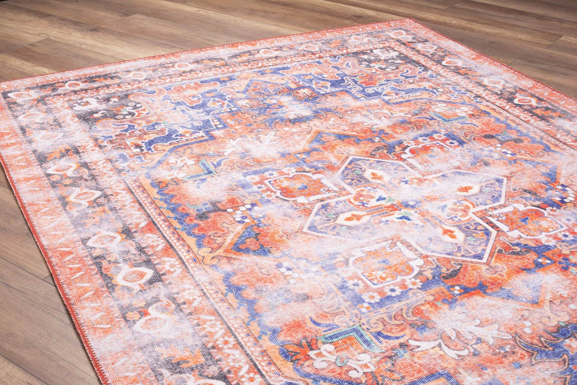 AFRA | Heriz Design, Oriental Faded rug, Persian Style, Antique Hand knotted looks, Home decor, Central Medallion, Light Navy Blue, Orange