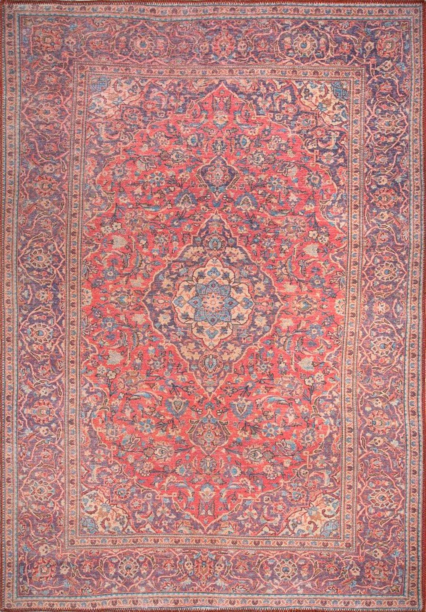 SURA | Oriental Rug, Persian Pattern, Vintage Handmade looks, Bohemian, Home decor, Floral Medallion, Bordered, Unique Red Carpet, Fame Rugs