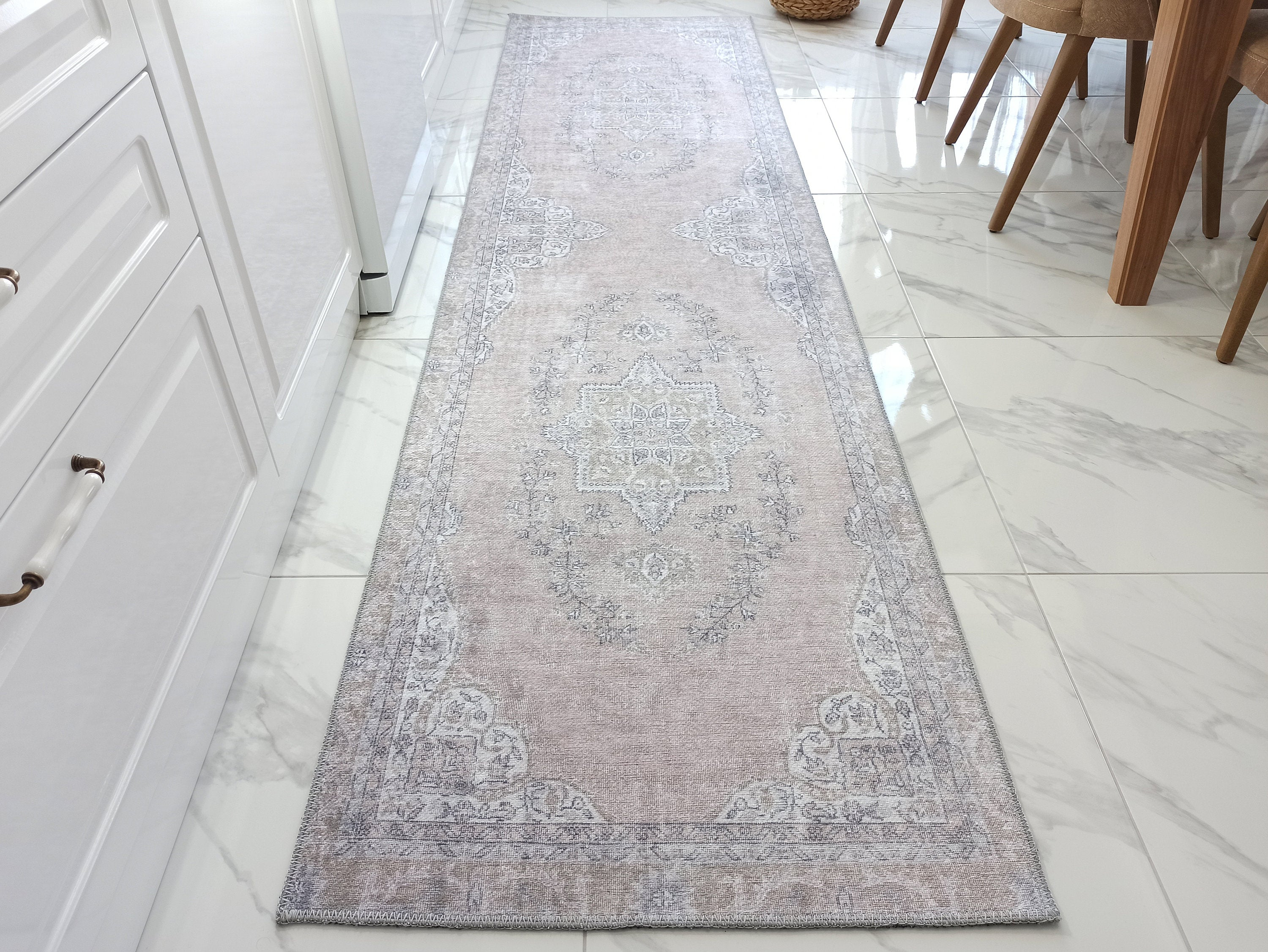 SAFA Runner | Turkish Runner Rug, Neutral Faded Pink, Oriental Traditional Bohemian, Vintage look, Minimalist, Shabby Hallway decor runners