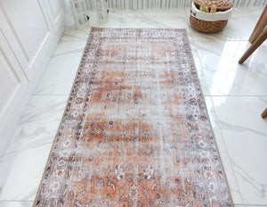 ARVA Runner | Turkish Runner Rug, Vintage Orange Distressed Faded Hallway rug, Bohemian Floral Luxury decor, Farmhouse Oriental Boho Chic