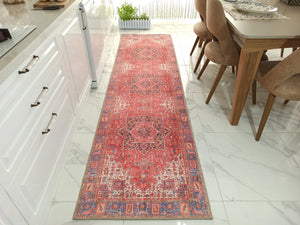 SARA Runner | Antique Persian Heriz Pattern Runners, Faded Red Oriental Runner Rug, Traditional Mid-century Tribal Hallway Ethnic Carpet