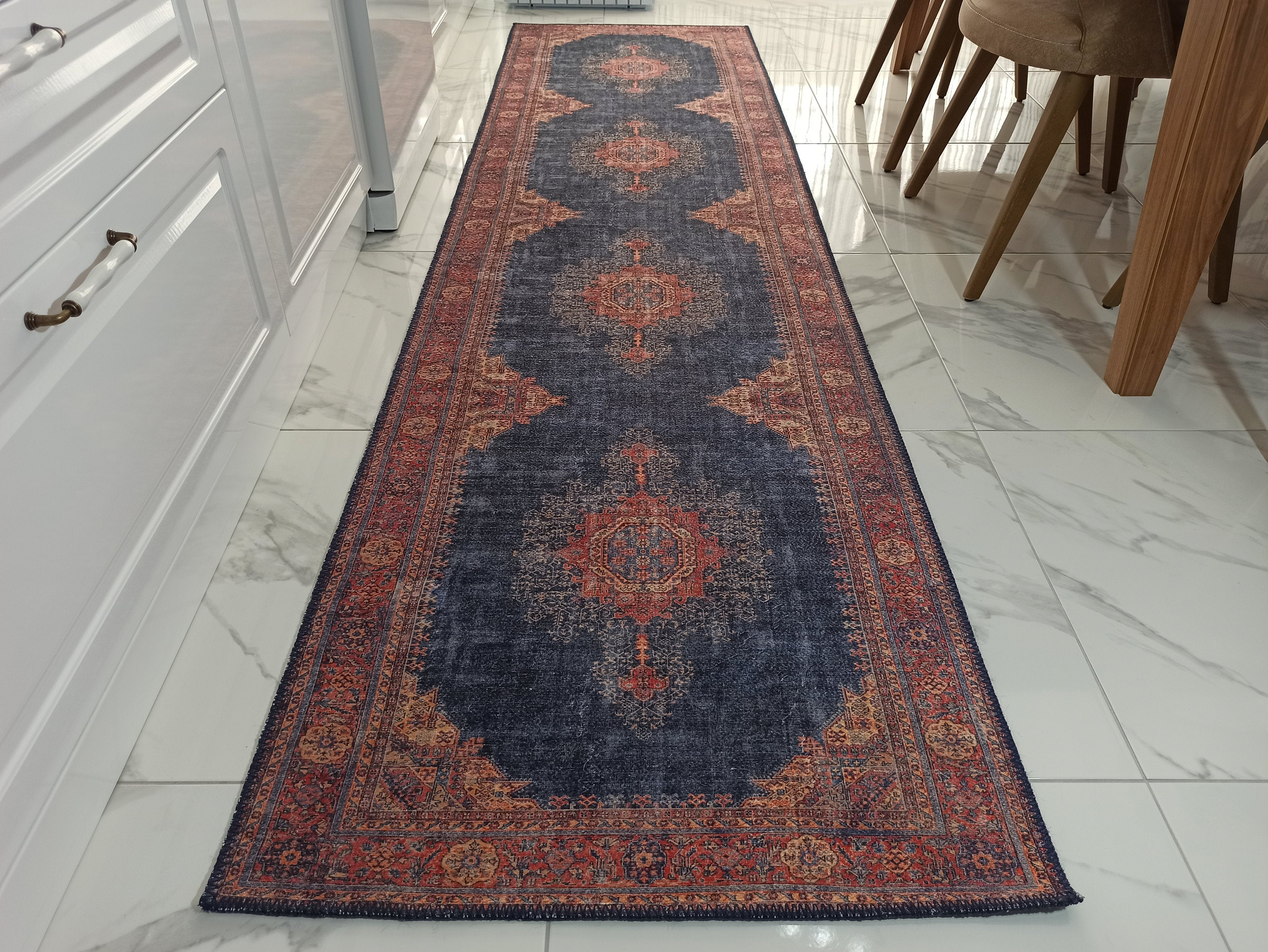 NARGAN Runner | Persian Pattern Oriental Rug, Antique Hand-knotted look, Home decor, Traditional, Art deco Runners, Navy blue, Red, Rugs