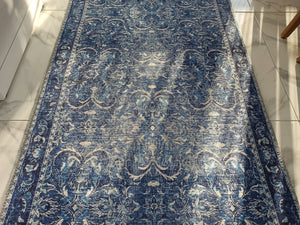 BULUD Runner | Vintage Dark Blue Rug, Luxury Medieval Tracery Runners, Hand-knotted texture, Distressed Home Farmhouse Decor, Turkish rugs