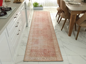 NISA Runner | Turkish Vintage Runner Rug, Distressed look Faded Burnt Orange Neutral Runners, Boho Chic Home decor, Mid-century Modern Rugs