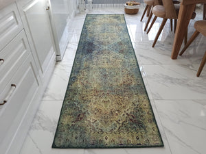 RENE Runner | Green Oriental Persian Runner, Vintage Hand-knotted texture, Kitchen decor, Over-dyed Faded Floral Motifs, Luxury Hallway rug