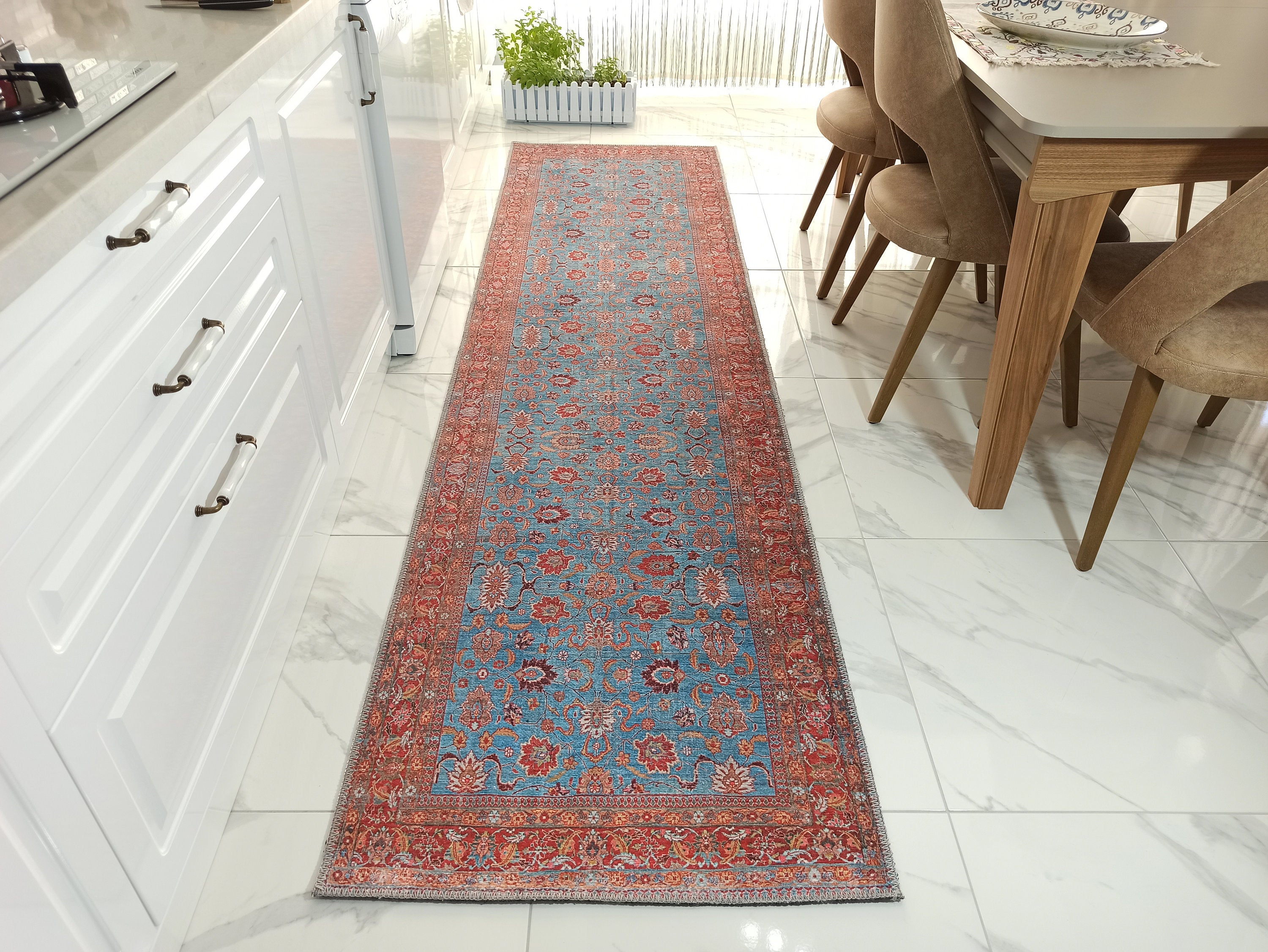 ZARA Runner | Persian Pattern Teal, Red Runners, Luxury Floral Oriental rug, Vintage Hallway Farmhouse Distressed Unique Short & Long Carpet