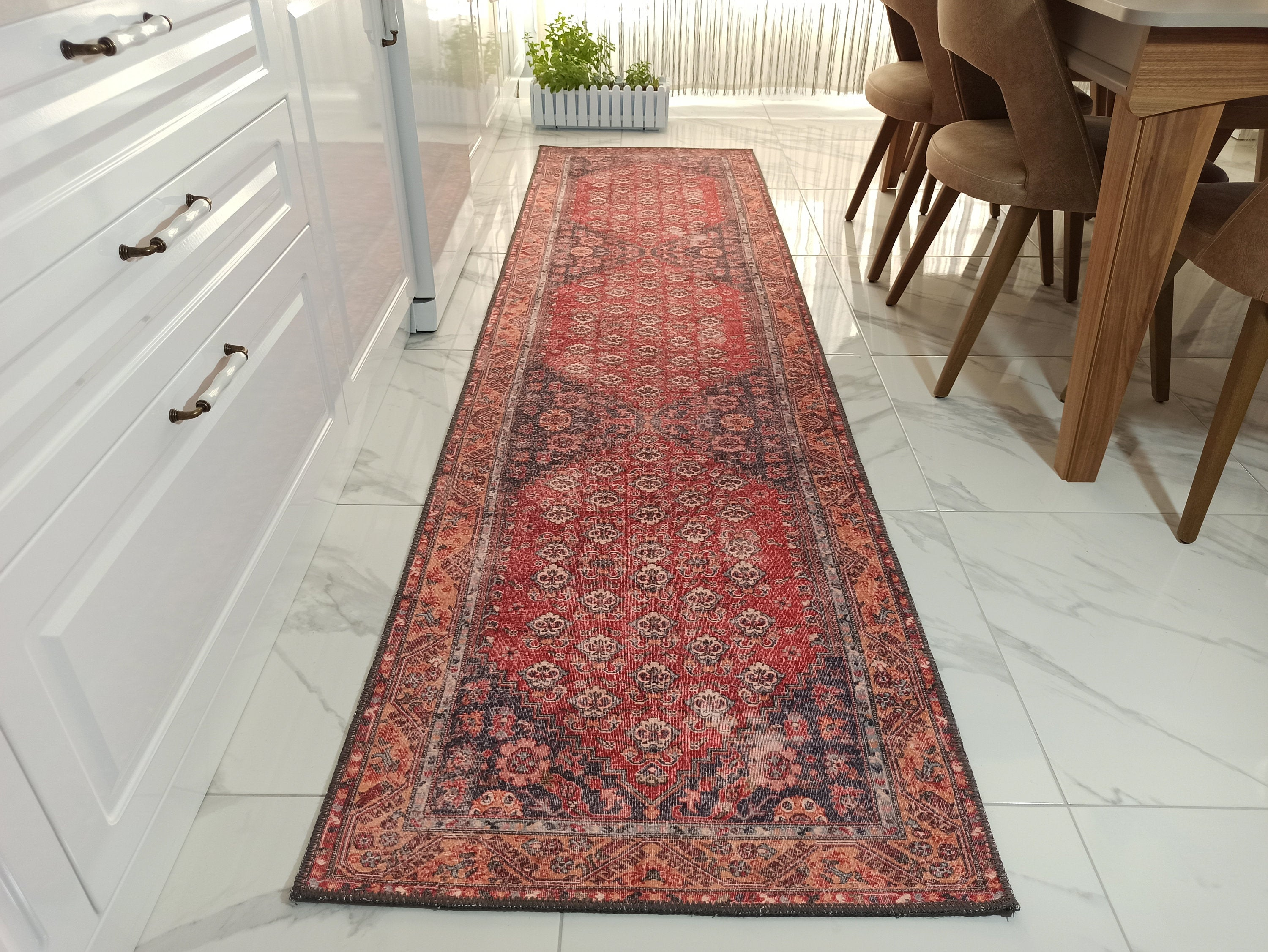 NARA Runner | Oriental Turkish Vintage Design Runners, Farmhouse decor, Red, Orange, Gray, Hallway Runner Rug, Unique Luxury Designer Carpet