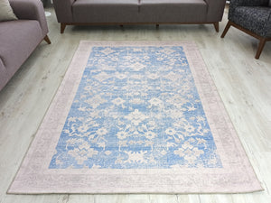 KHOTAN | Anatolian Vintage design Distressed Blue, Ivory Beige Turkish Rug, Oriental Floral Faded Farmhouse decor Unique Area Rugs, FameRugs