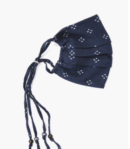 Indigo Blue Polka Dot Face Mask
