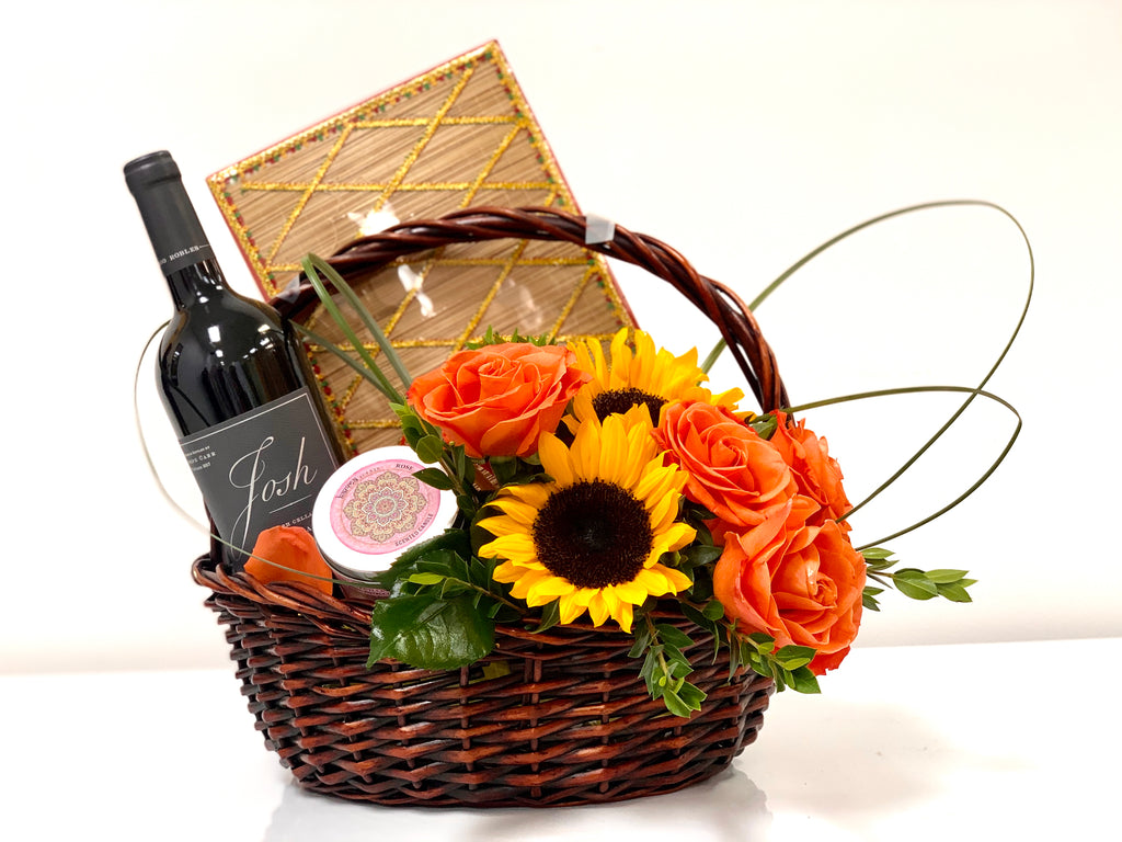 Colorful Flowers with Wine