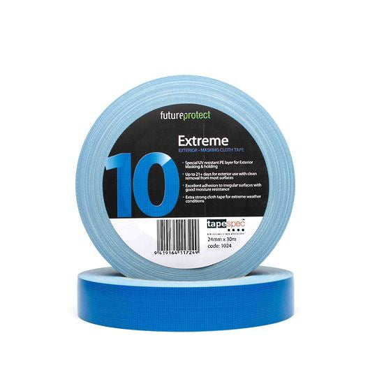 Exterior UV Resistant Cloth Masking Tape    Construction:   Carrier Graphic black white 2	Polyethylene Coating – UV Resistant Additive Strong Cloth Backing Cured Rubber Adhesive   Special UV resistant PE layer for Exterior masking & holding applications.