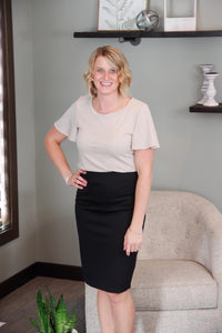 Pontee Black Pencil Skirt