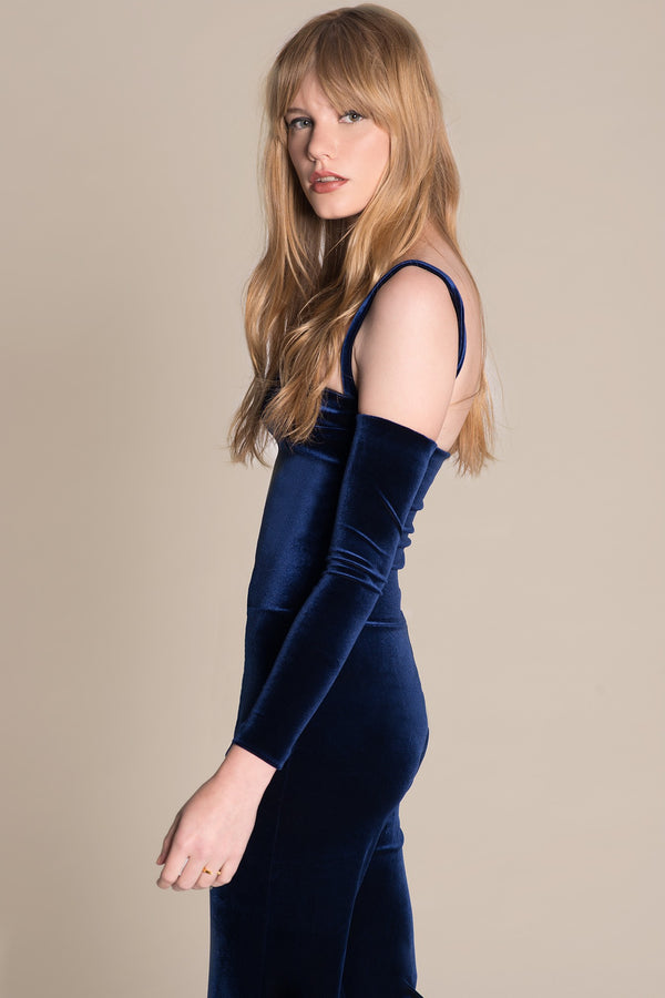 Blue velvet playsuit