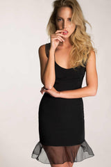 black silk ruffle dress