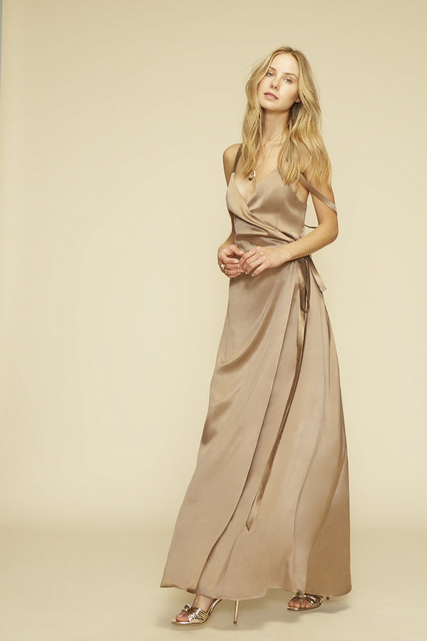 Nude silk maxi dress