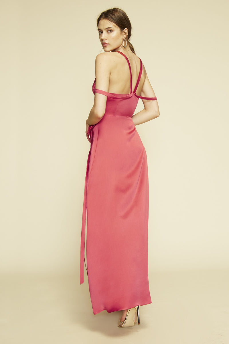 Red silk maxi dress